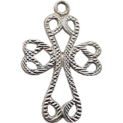 Sterling Silver Bracelet Charm Crucifix Cross in Hearts .925