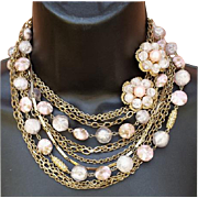 Vintage 1960s 12 Strand Necklace with Earrings in Pinks