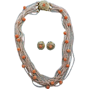 Delicate 15 Strand Seed Bead Necklace and Earrings Japan Pink Coral Beads