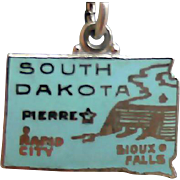 South Dakota Charm Sterling Silver  State Travel Tourist Bracelet Charm