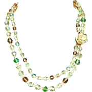 Superb Double Strand Crystal Bead Necklace 1960s Jonquil Green Warm Brown