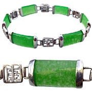 Jade Link Bracelet Sterling Good Fortune Settings 9.7 Grams