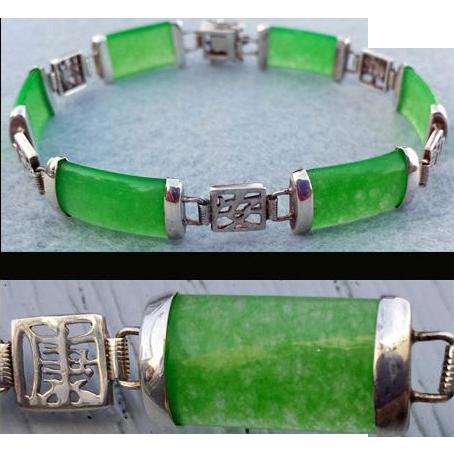 Jade Link Bracelet Sterling Good Fortune Settings 9.7 Grams