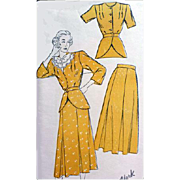 1940s Vintage Sewing Pattern Women's Suit 1940s Bust 40