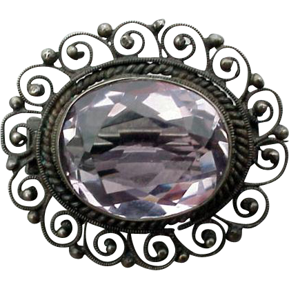 Antique Edwardian Amethyst and .800 Silver Brooch Lacy Setting 4.5 Grams