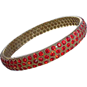 1920s Celluloid Bangle Bracelet Red Rhinestones from the Roaring Twenties