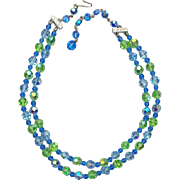 1960s Cut Crystal Necklace Baby Blue Celery Green Double Strand
