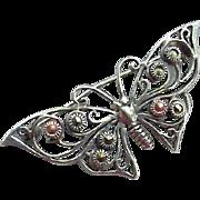 Sterling Silver Butterfly Brooch Marcasite Stones in Open Work