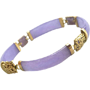 14kt Gold and Lavender Jade Bracelet Fancy Fittings