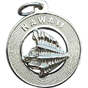 Hawaiian .925 Sterling Silver Charm Hawaii with Conch Shell