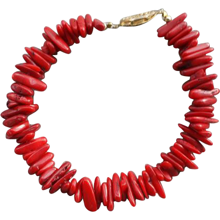 Vintage Red Coral Bead Bracelet 1970s Fabulous Color