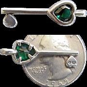 Vintage Sterling Bracelet Charm Heart Shaped Skeleton Key Green Rhinestone