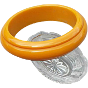 Bakelite Bangle Bracelet Carved Golden Yellow Early Vintage Plastic