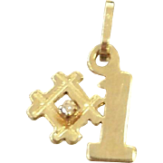 14kt Yellow Gold Charm for Bracelet Figural #1 with Diamond Valentine's Day Gift