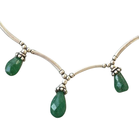 Sterling Silver Necklace with Faceted Green Onyx Baubles
