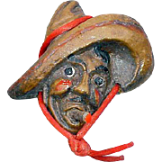 1940s  Novelty Brooch Mexican Man in Sombrero Smoking