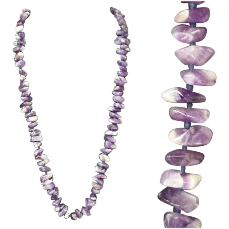 Long Tumbled Purple  Amethyst Quartz Bead Necklace Knotted