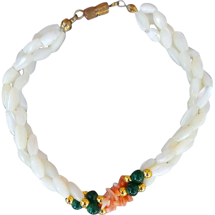 Vintage White and Coral MOP with Jade Colored Beads Mother of Pearl Bead Bracelet