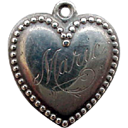 Vintage Sterling Silver Puffy Heart Charm Engraved to Marie