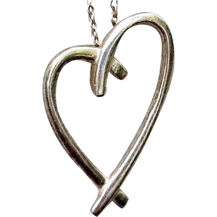 Vintage Sterling Silver Floating Heart Necklace 2.9 Grams Valentine's Day Special