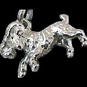 Vintage Zodiac  Aries the Ram Sterling Silver Bracelet Charm Beau Designer Unworn