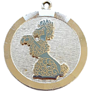 Vintage Sterling Silver Poodle Dog Charm for Bracelet