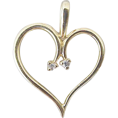 14kt Yellow Gold Heart with Diamonds Pendant or Charm for Bracelet