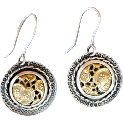 Wonderful Pierced Earrings Sterling and Vermeil Shadow Box Lilly Pads