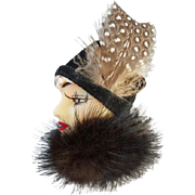 Vintage Lady Face Brooch 1920s Flapper Girl in Mink with Feathered Hat