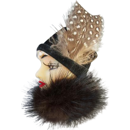 Vintage Lady Face Brooch 1920s Flapper Girl in Mink and Feathered Hat