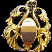 Antique Art Nouveau Women's Watch Pin 4.2 Grams Gold Plate Brooch