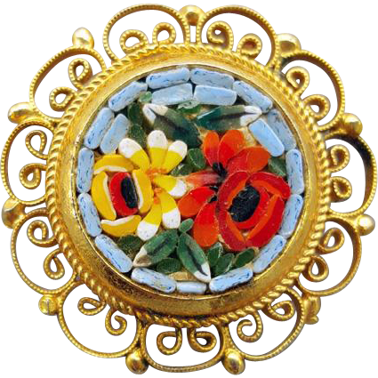 Vintage Italian Mosaic Brooch Italy Classic Flower Glass Inlay