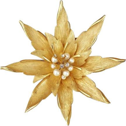 Huge 1960s Gold Tone Brooch Faux Pearls  and Trembler Rhinestones