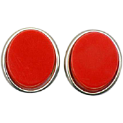 Vintage Red Bakelite Earrings Clip on Tested Positive