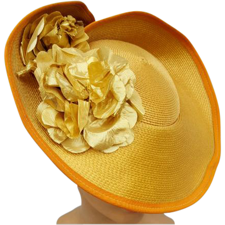 Flamboyant Wide Brim Hat Gold Lame Flowers Fit for a Royal