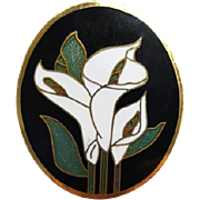Dramatic Madonna Lily Brooch with Cloisonne Construction Easter Elegance