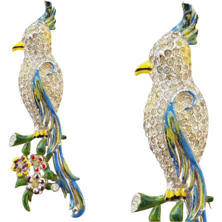 1940s Coro Cockatoo Fur Clip Rhinestones Enamel Brooch or pin.