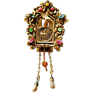 Vintage Animated Coro Cuckoo Clock Fur Clip Brooch or Pin Pegasus Mark