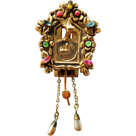 Coro Cuckoo Clock Fur Clip Brooch or Pin with Jewels and Pegasus Mark