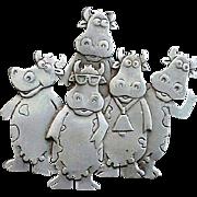 Vintage Silver Tone Crazy Cows Brooch Signed Designer J.J. 1988