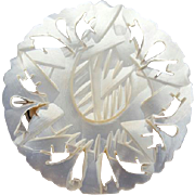 Vintage Hand Carved Pierced  Mother Of Pearl Brooch