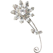 1960s Rhinestone Daisy Brooch Spring and Summer Sparkle