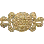 1920's - 1930s Byzantine Style Brass Brooch Warrior Regal Game of Thrones