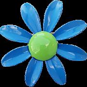 Big 1960s Enamel Flower Brooch Blue Lime Green DIY
