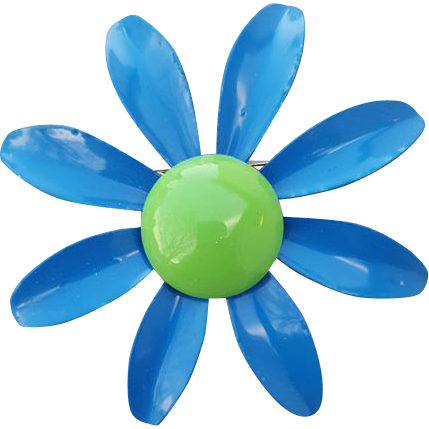 Big 1960s Enamel Flower Brooch Blue Lime Green DIY