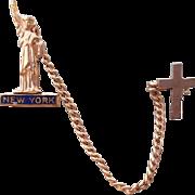 Miniature Chatelaine Pin New York Statue of Liberty and Crucifix Doll Size