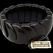 Vintage Black Lucite Expansion Bracelet with Hang Tag