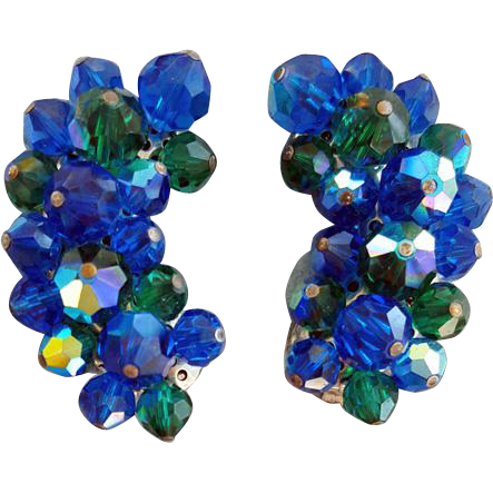 Vintage Laguna Crystal Clip on Earrings Green and Blue Sparkle