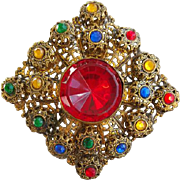 Large Vintage Brooch Rhinestones Filigree Old World Ancient Style ala Game of Thrones