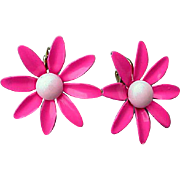 1960s Vintage Pink Enamel Flower Earrings Clip On Spring and Summer